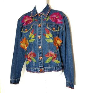 S Collection Womens Jean Jacket Distressed